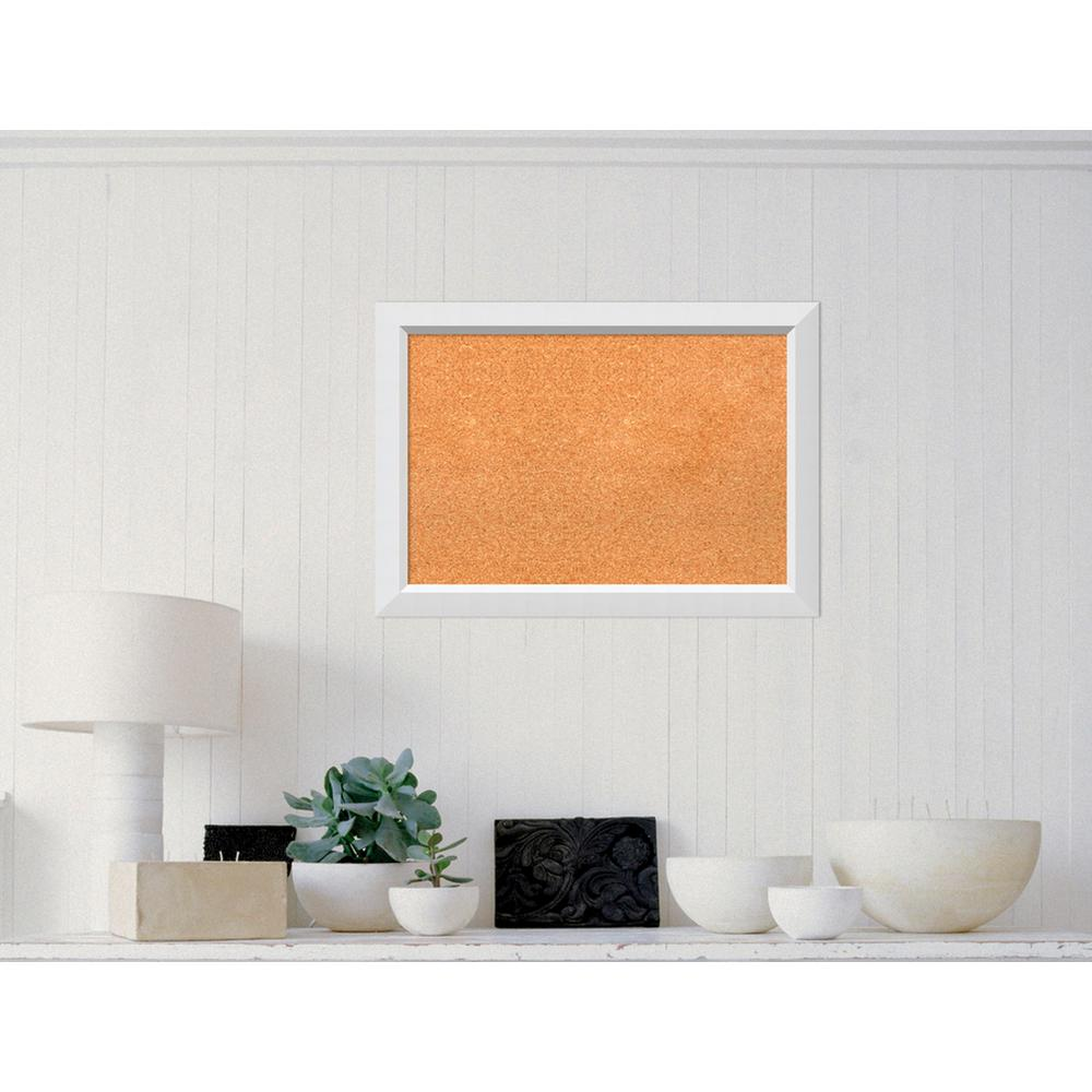 Amanti Art Blanco White Wood 27 in. W x 19 in. H Framed Cork Board ...