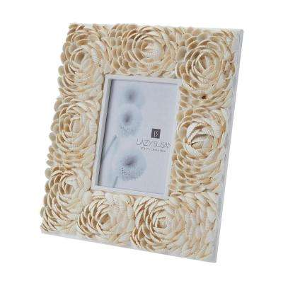 Natural Shell 1-Opening 5 in. x 7 in. Flower Pattern In Natural Shell Picture Frame