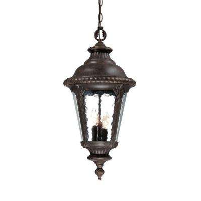 Surrey Collection 3-Light Black Coral Outdoor Hanging Light Fixture