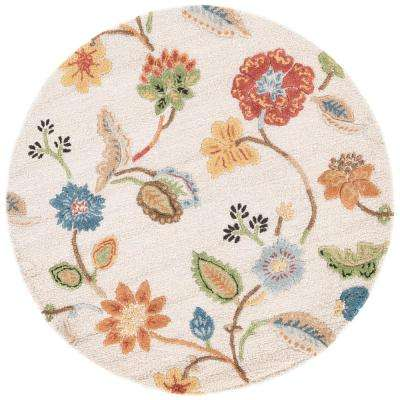Oak Buff 6 ft. x 6 ft. Floral Round Area Rug