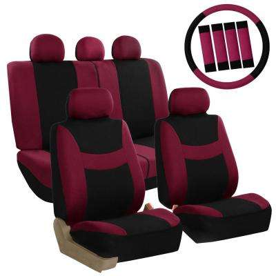 Light and Breezy Fabric 21 in. x 21 in. x 2 in. Full Set Seat Covers with Steering Wheel Cover and 4-Seat Belt Pads
