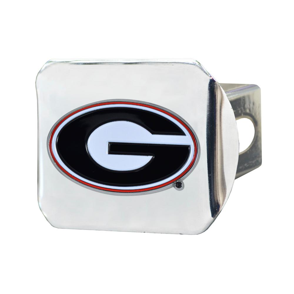 University Of Georgia Metal Emblem Chrome With Red Trim On Black Metal Hitch Football-other