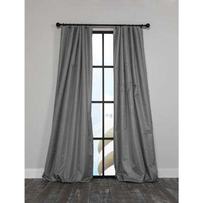 Ripple 54 in. x 120 in. Solid Blackout Thermal Rod Pocket Curtain Single Panel in Gray