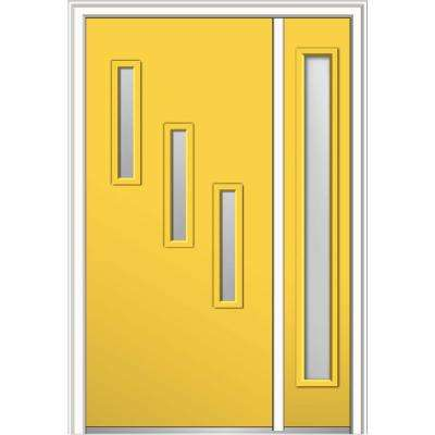 48 in. x 80 in. Davina Frosted Glass Right-Hand 3-Lite Modern Painted Fiberglass Smooth Prehung Front Door with Sidelite