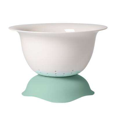 Clever Cooking 2-Piece Porcelain White with Green Strainer & Serving Bowl Combo