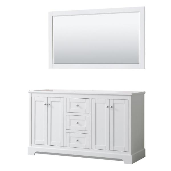 Avery 59.25 in. W x 21.75 in. D Bathroom Vanity Cabinet Only with Mirror in White