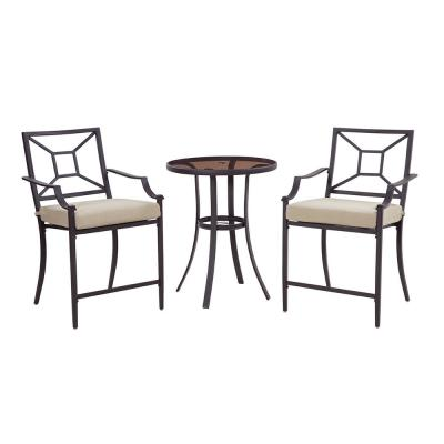 Laredo 3-Piece Metal Outdoor Balcony Height Bistro Set with Neutral Cushions