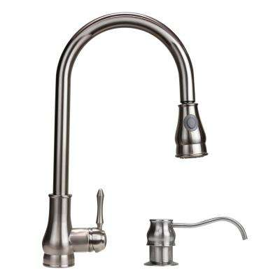 Coral 18 in. Single-Handle Pull-Down Sprayer Kitchen Faucet in Brushed Nickel