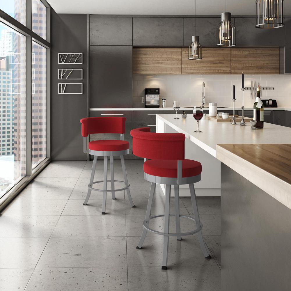 Terrific Americo 26 In Glossy Grey Metal Red Polyester Counter Stool Gmtry Best Dining Table And Chair Ideas Images Gmtryco