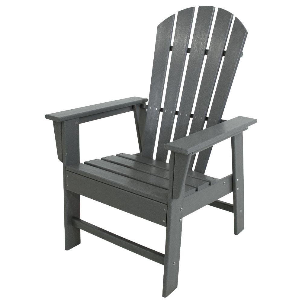 POLYWOOD South Beach Slate Grey All-Weather Plastic Outdoor Dining Chair