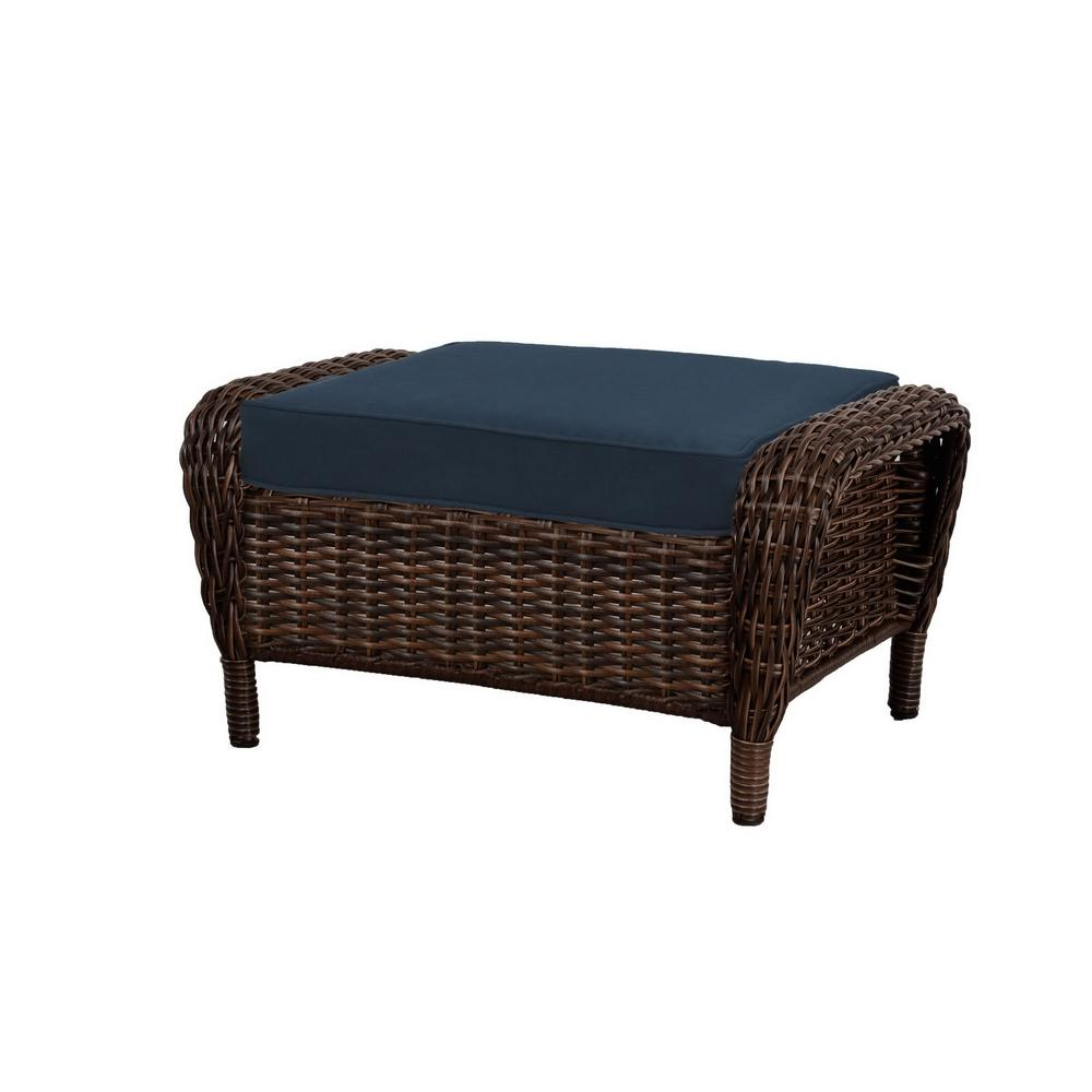 Incredible Hampton Bay Cambridge Brown Wicker Outdoor Patio Ottoman With Standard Midnight Navy Blue Cushions Dailytribune Chair Design For Home Dailytribuneorg
