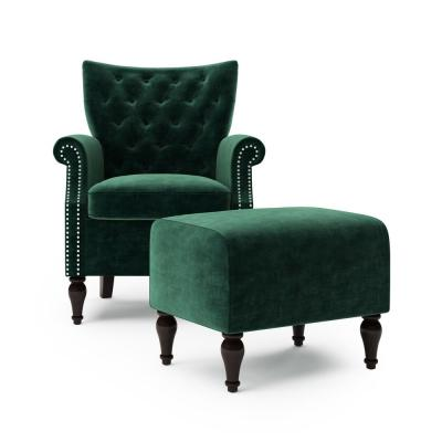 Margaux Button in Emerald Green Velvet Tufted Rolled Arm Chair and Ottoman Set
