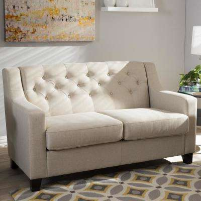Arcadia Contemporary Beige Fabric Upholstered Loveseat