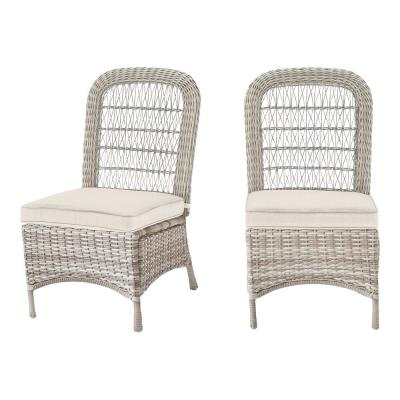 Beacon Park Gray Wicker Outdoor Patio Armless Dining Chair with CushionGuard Almond Tan Cushions (2-Pack)