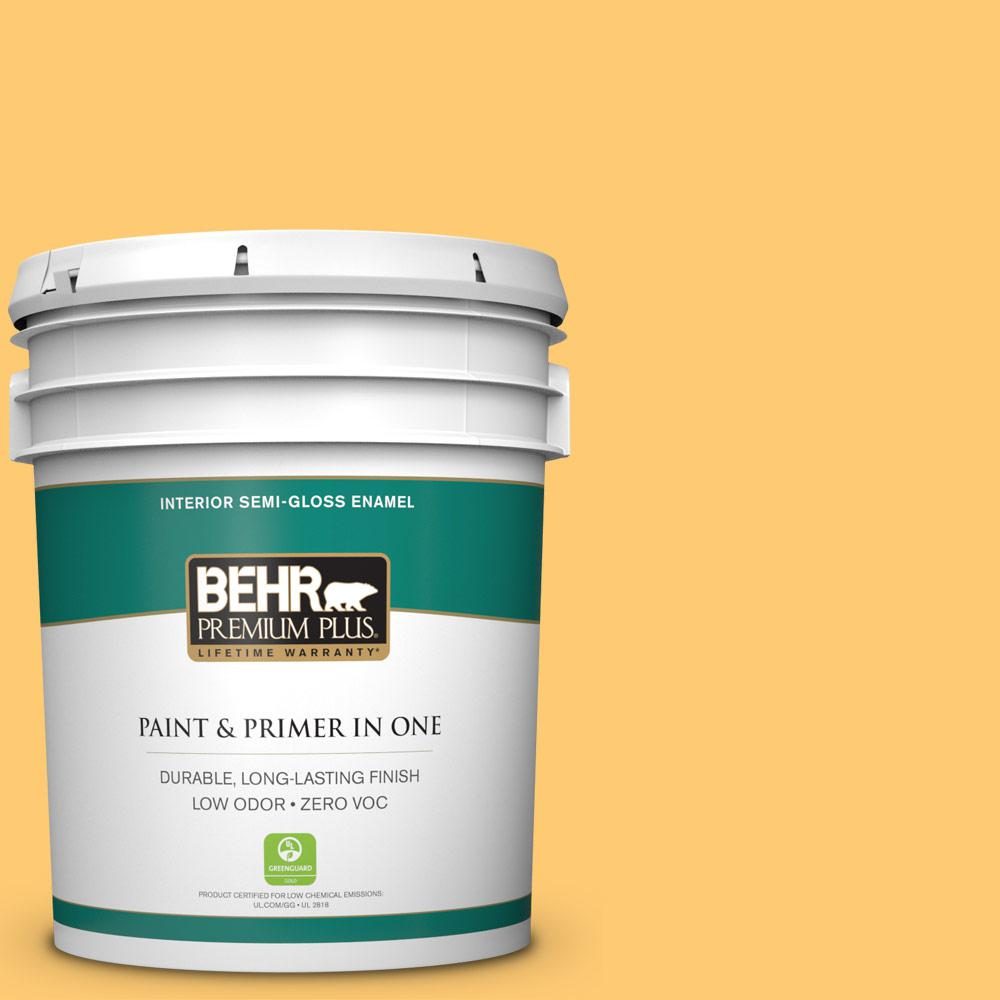 BEHR Premium Plus 5-gal. #310B-5 Spiced Butternut Zero VOC Semi-Gloss Enamel Interior Paint