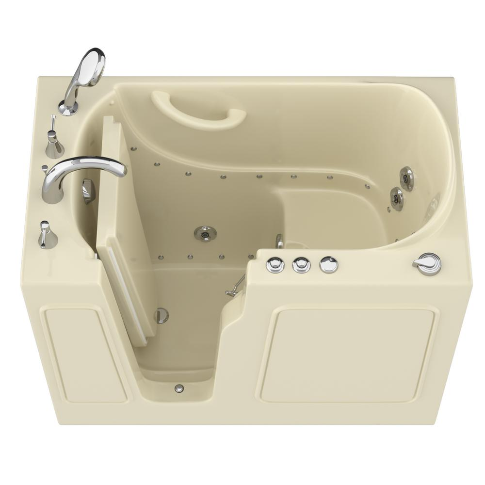 Universal Tubs HD Series 46 in. Left Drain Quick Fill Walk-In Whirlpool and Air Bath Tub with Powered Fast Drain in Biscuit