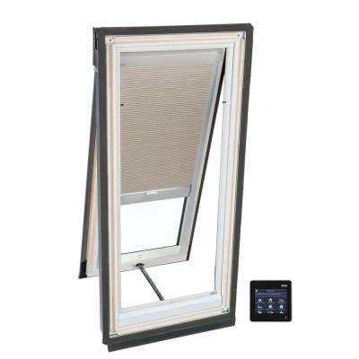 21 in. x 26-7/8 in. Solar Powered Venting Deck-Mount Skylight with Laminated Low-E3 Glass and Beige Room Darkening Blind