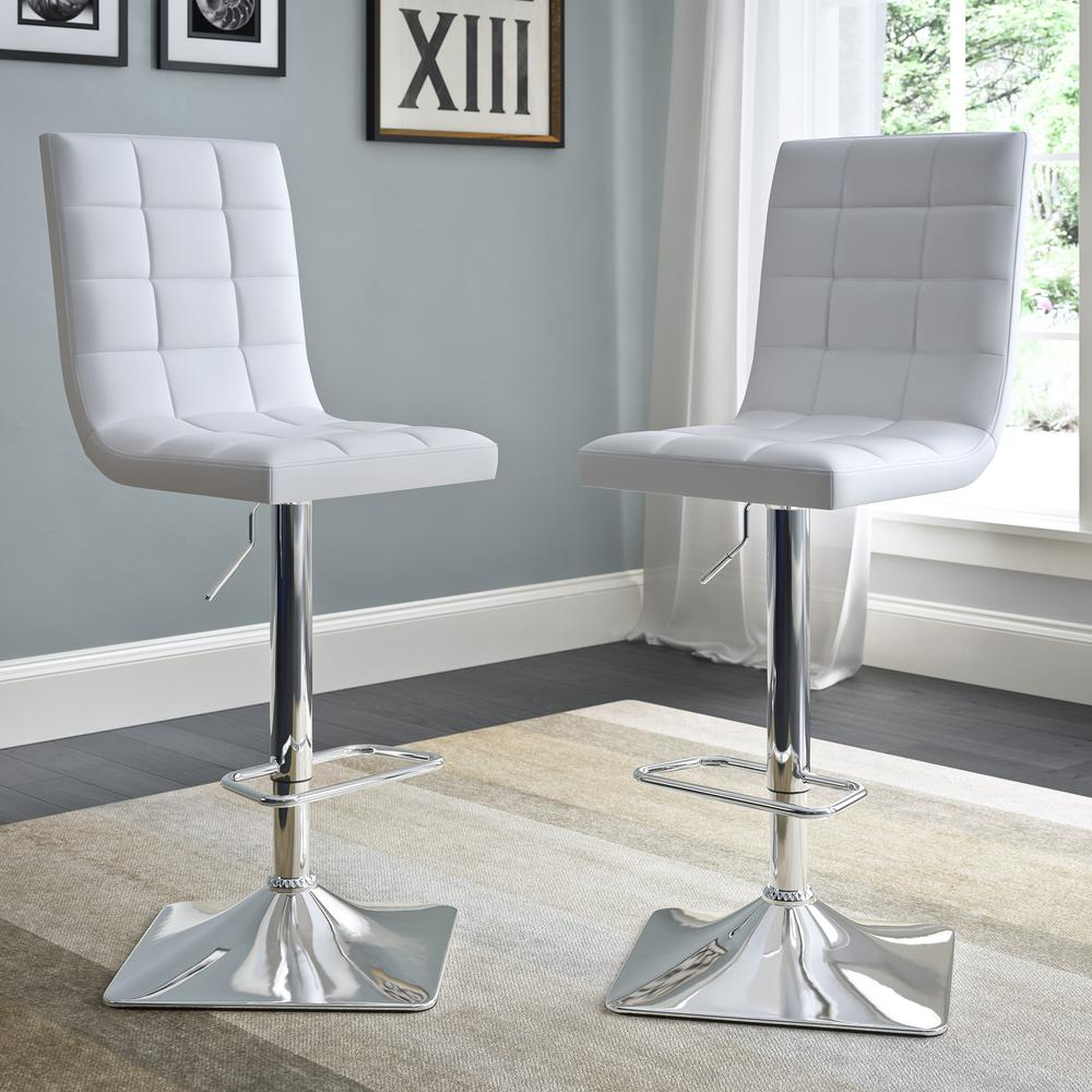 Adjustable Height White Bonded Leather Swivel Bar Stool (Set of 2)