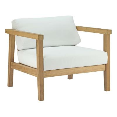Bayport Patio Teak Outdoor Lounge Chair in Natural with White Cushions