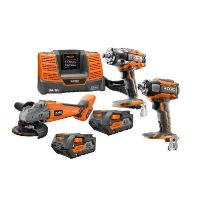 18-Volt Cordless Lithium-Ion Brushless 3-Tool Automotive Combo Kit with (2) 4.0Ah Batteries and Charger