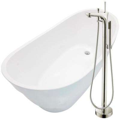 Stratus 67 in. Acrylic Flatbottom Non-Whirlpool Bathtub in White with Kase Faucet in Brushed Nickel