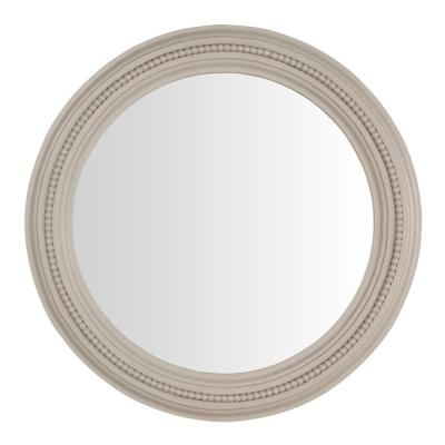 Medium Round Biscuit Antiqued Farmhouse Accent Mirror (24 in. Diameter)