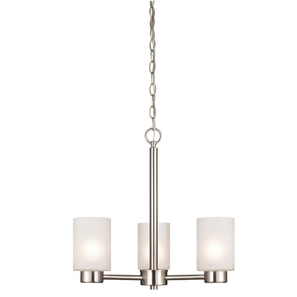 Westinghouse Sylvestre 3 Light Brushed Nickel Chandelier With Frosted Seeded Gl Shades