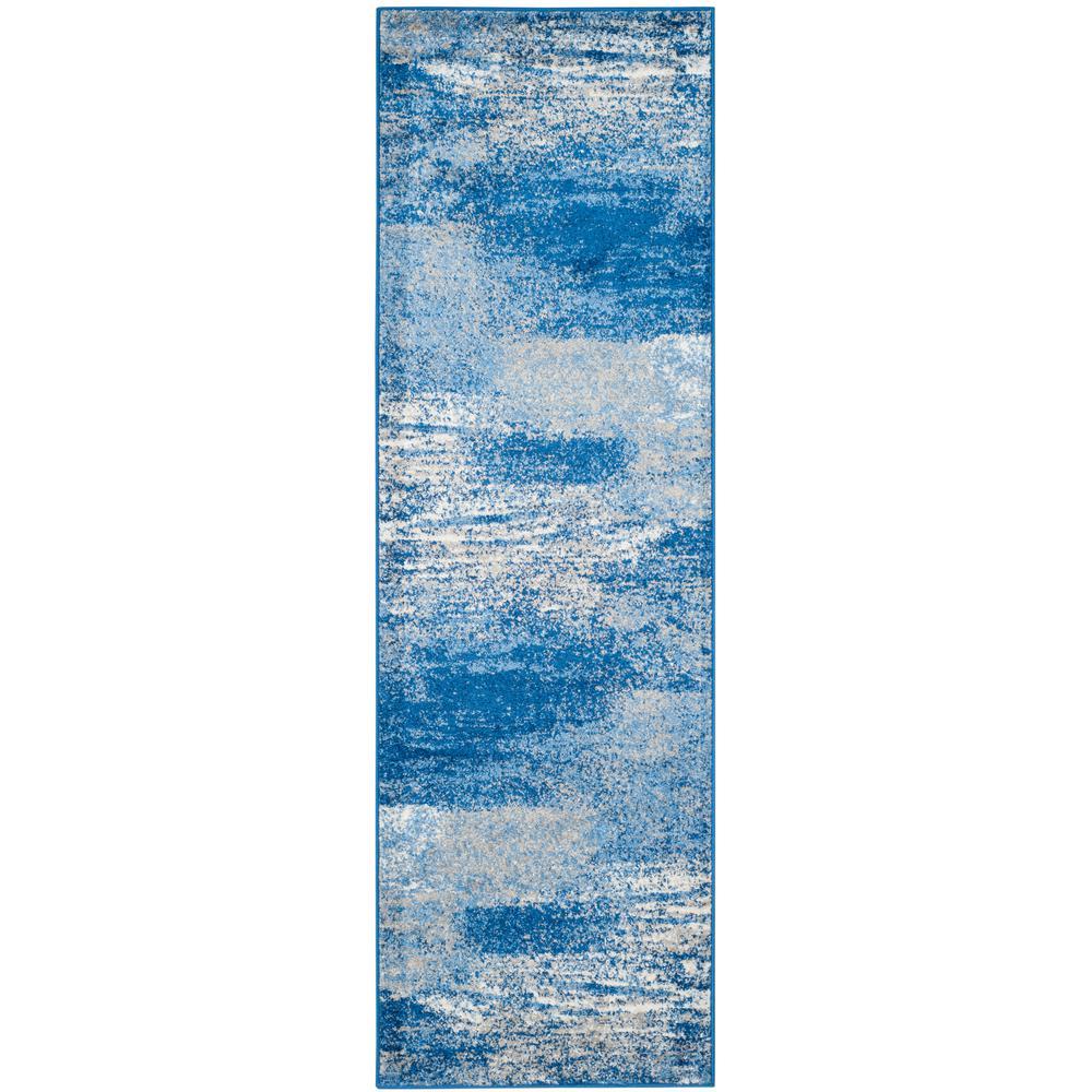 Adirondack Silver/Blue 3 ft. x 20 ft. Runner Rug