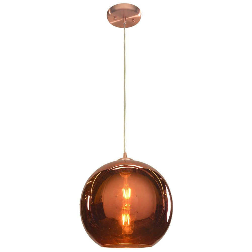 Access Lighting Glow 12 in. 1-Light Brushed Copper Pendant with Copper Glass Shade