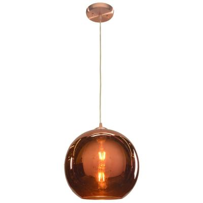 Glow 12 in. 1-Light Brushed Copper Pendant with Copper Glass Shade