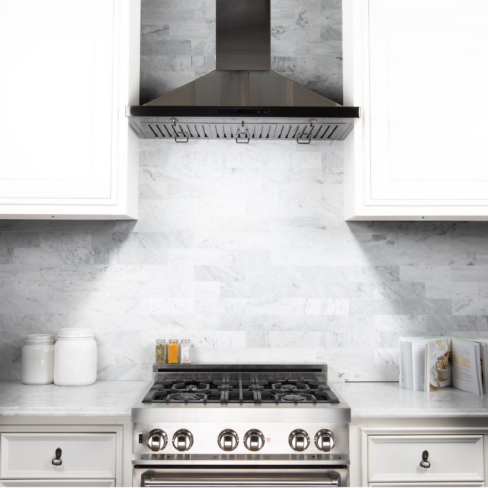 Zline Kitchen And Bath 48 In Wall Mount Range Hood In Black Stainless Steel