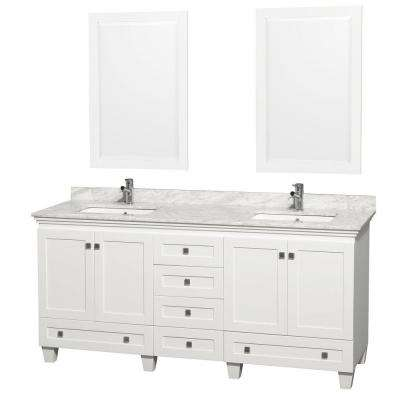 Acclaim 72 in. Double Vanity in White with Marble Vanity Top in Carrara White, Square Sink and 2 Mirrors