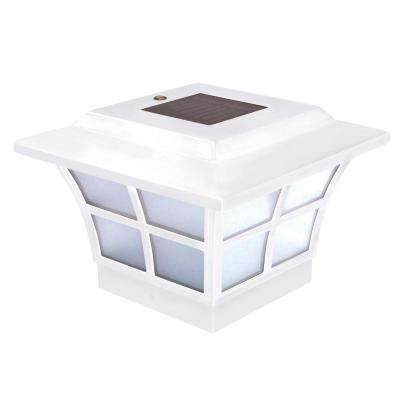 4 in. x 4 in. White PVC Outdoor Prestige Solar Post Cap (2-Pack)