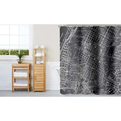 NYC Map 70 in. x 72 in. Grey 13-Piece Fabric Shower Curtain Set