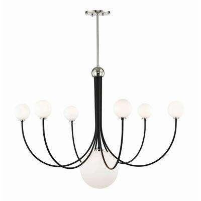 Coco 7-Light Polished Nickel/Black LED Chandelier with Opal Shiny Glass Shade