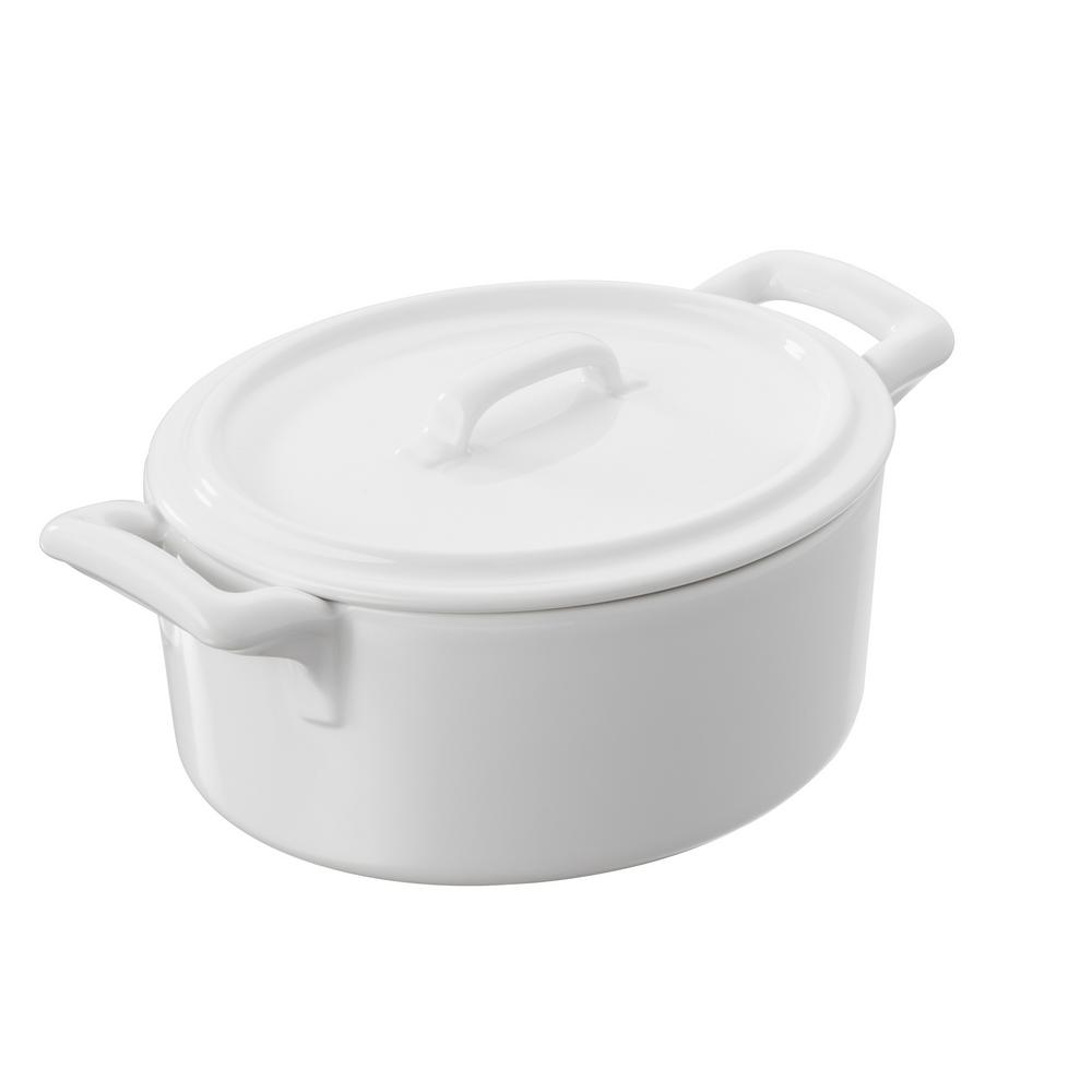 Belle Cuisine 1 Liter Round Porcelain Coquette with Lid in White