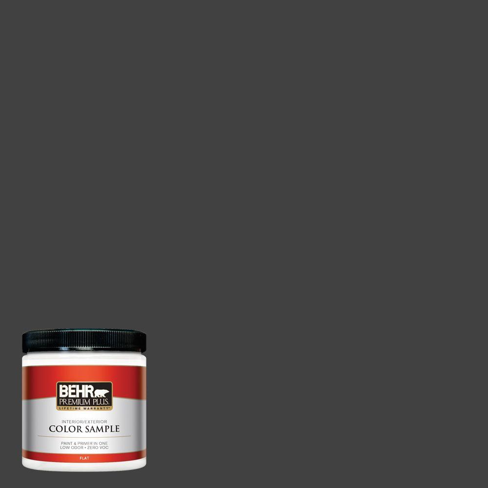8 oz. #BNC-38 Spade Black Flat Interior/Exterior Paint and Primer in