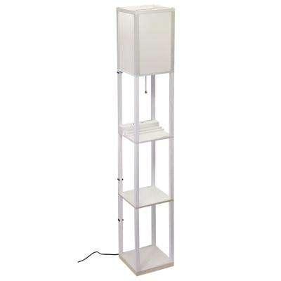 63 in. MDF White Shelf Floor Lamp with Ivory Plastic Lamp Shade