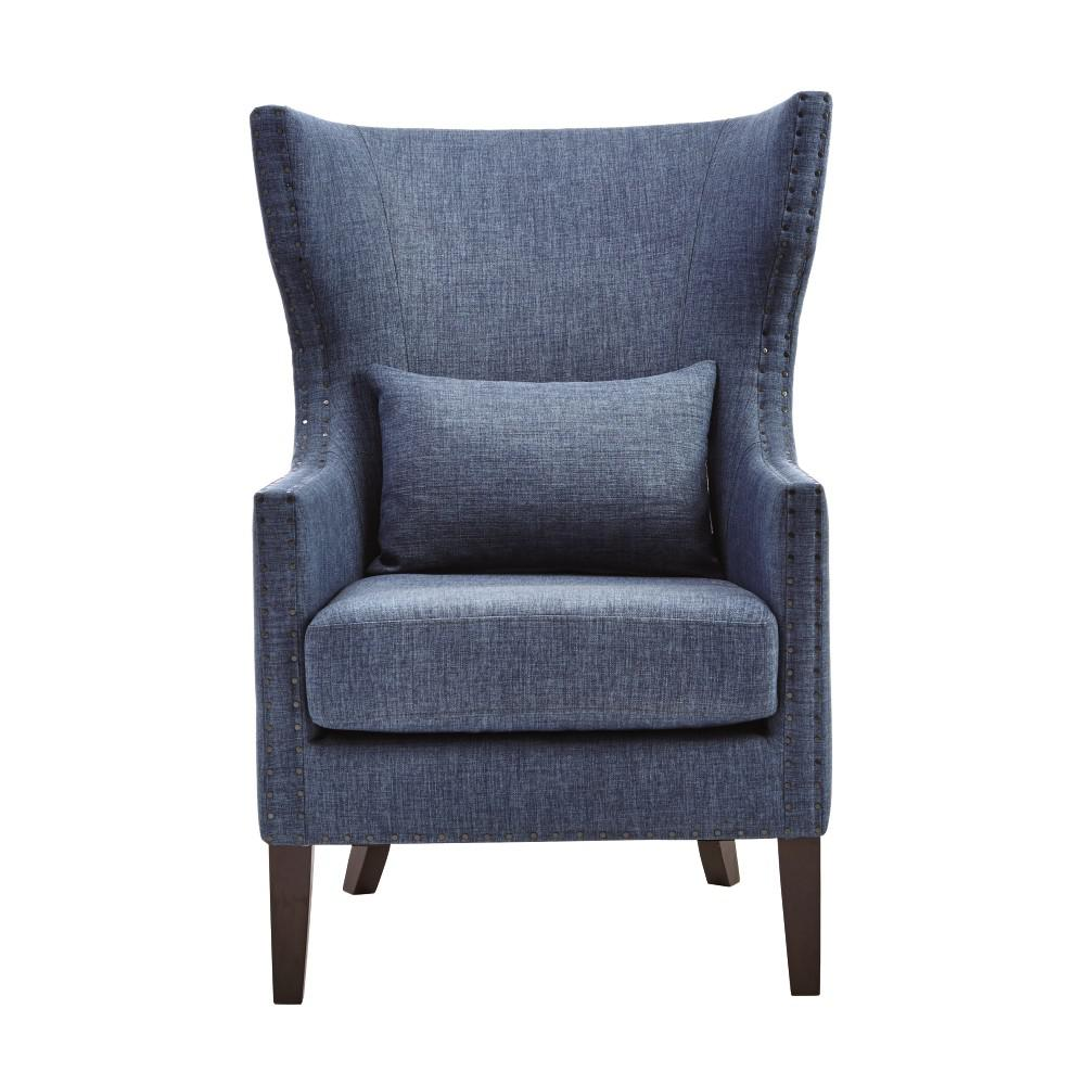 Home Decorators Collection Bentley Capri Blue Linen Upholstered Arm Chair