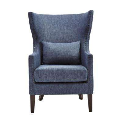bentley capri blue linen upholstered arm chair