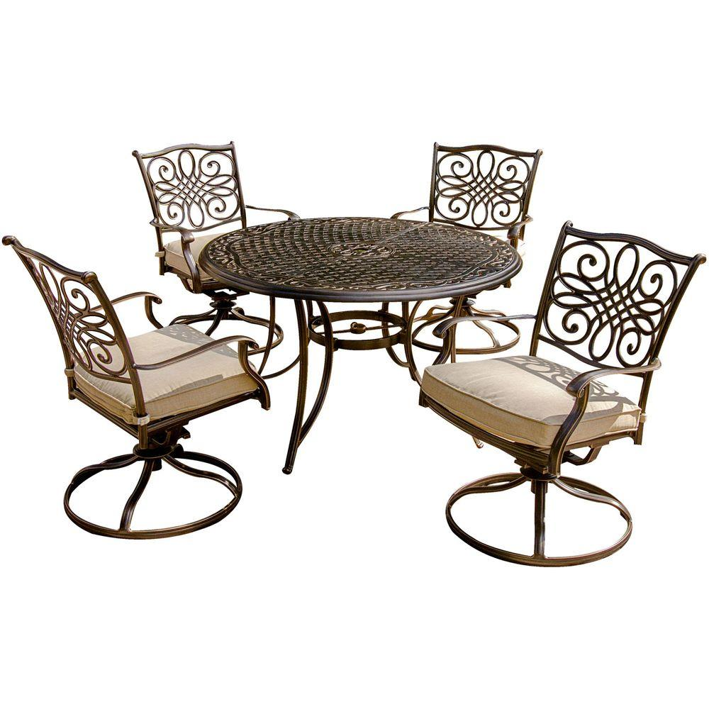 Hanover Traditions 5 Piece Patio Outdoor Dining Set With 4 Cushioned Swivel  Chairs And
