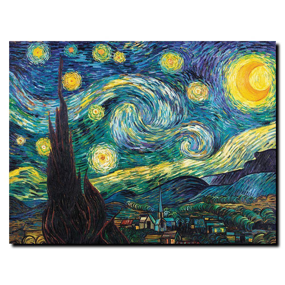 Trademark Fine Art 14 in. x 19 in. Starry Night Canvas Art