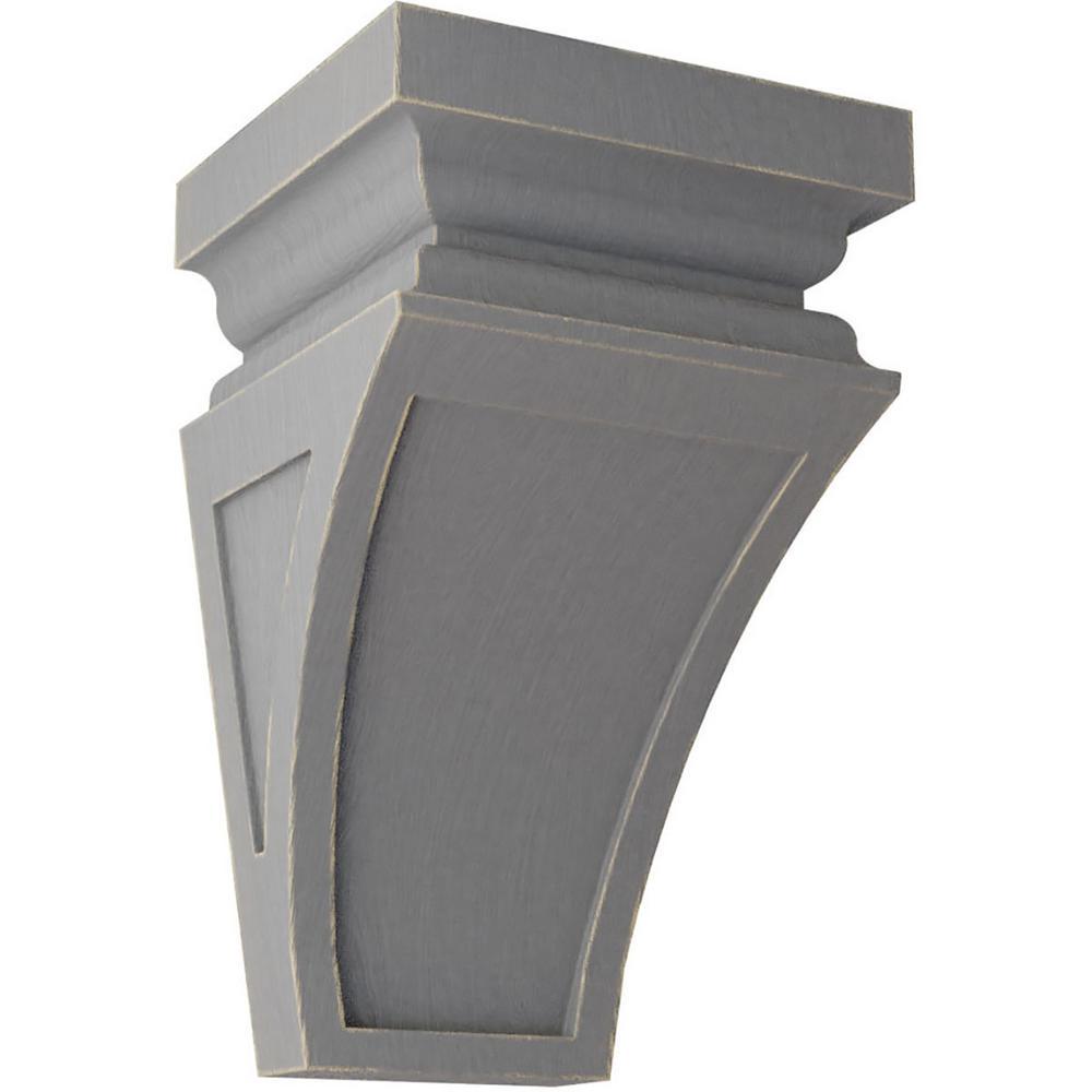 5 in. x 10 in. x 5-3/4 in. Pebble Grey Medium Nevio Wood Vintage Decor Corbel