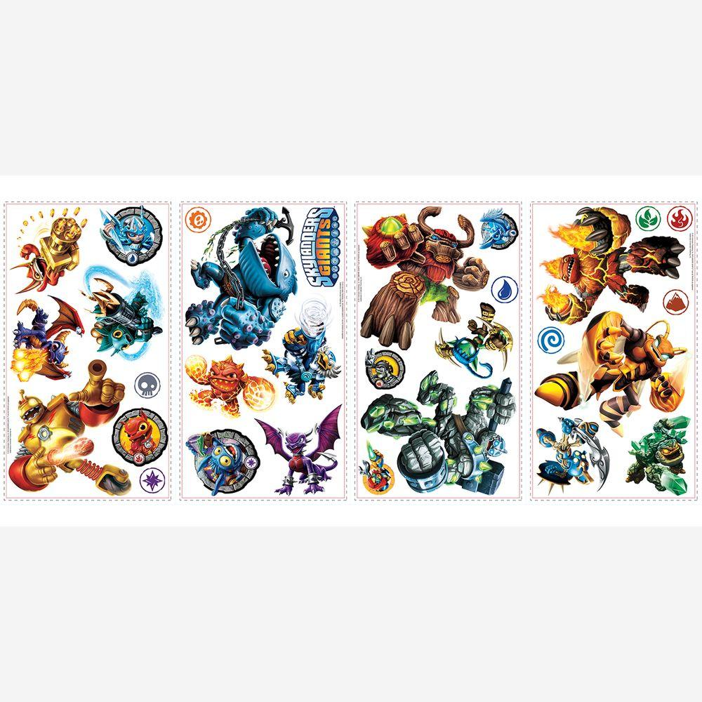 null 5 in. x 11.5 in. Skylanders Peel and Stick 30-Piece Wall Decals-DISCONTINUED