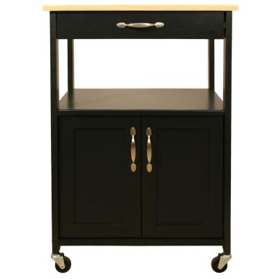 Black Kitchen Cart with Natural Wood Top