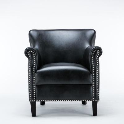 Holly Charcoal Faux Leather Club Chair