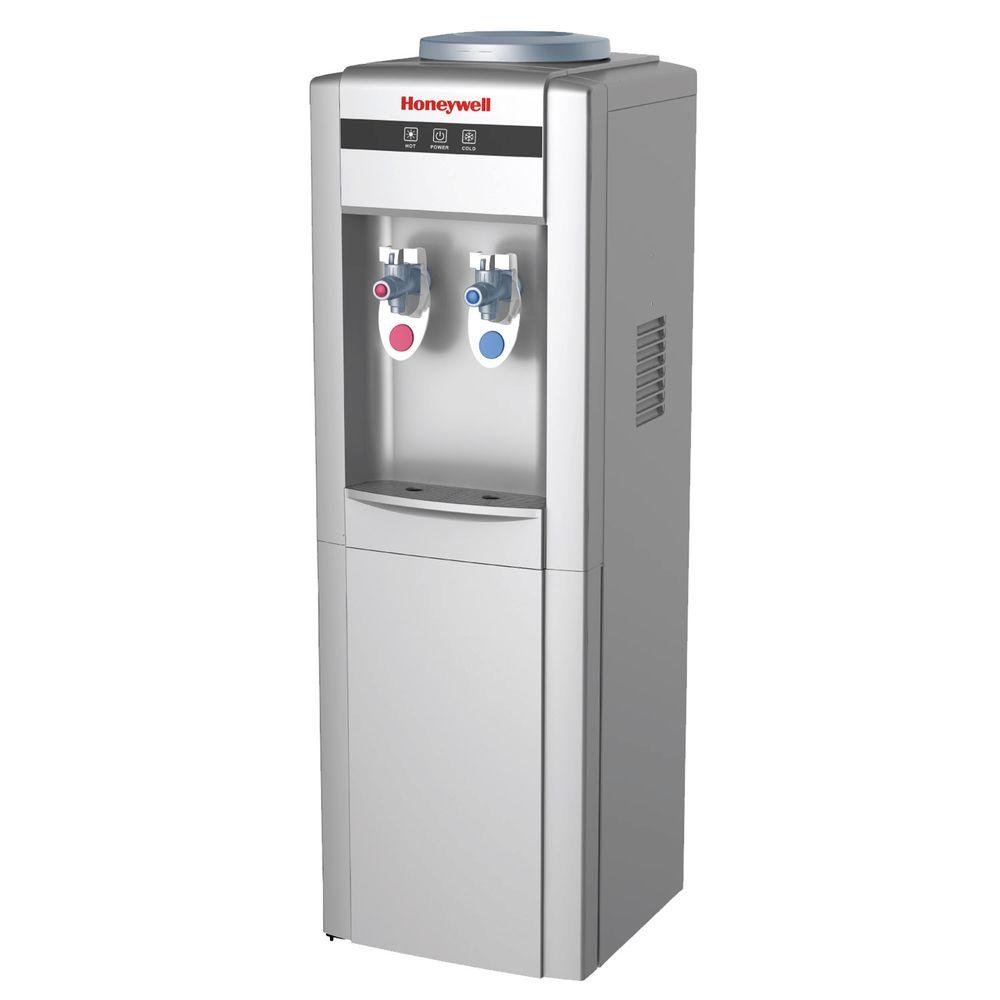 Honeywell Freestanding Top-Loading Hot and Cold Water Cooler in Silver
