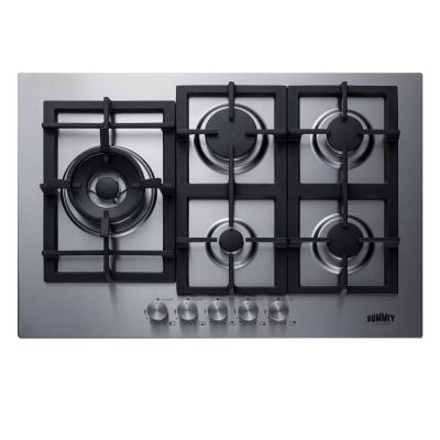30 in. Gas Cooktop in Stainless Steel with 5-Burners