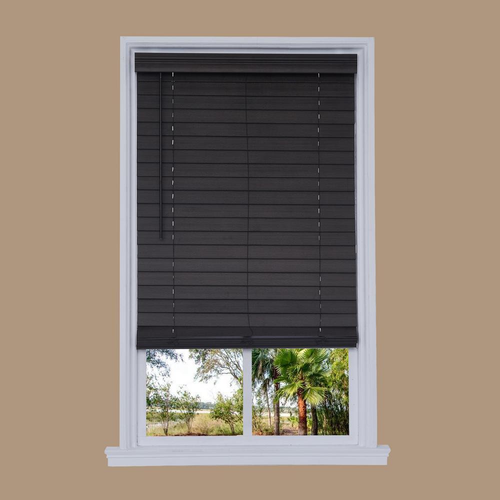 Cut-to-Width Brown Oak Cordless 2.5 in. Distressed Faux Wood Blind - 72 in. W x 72 in. L