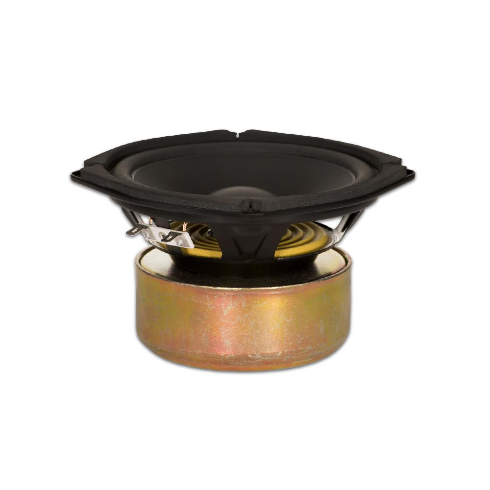 Shielded 5.25 in. Woofer 130-Watt 8 ohm Replacement Speaker This Goldwood Sound 8 ohm 5.25 in. driver has a maximum wattage of 130-Watt and is designed and engineered right here. This woofer features a 16 oz. shielded magnet with rolled foam surround and poly laminated cone. This woofer is a high end, pro audio transducer optimized for all musical instrument, DJ, car audio and professional applications.
